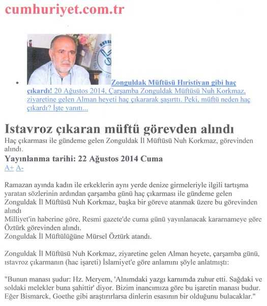 Η σιωπηρή εξεγερση του Πόντου! Ο μουφτής με τον σταυρό προκαλεί σοκ στην Τουρκία...Απο τις στάχτες της γεννιέται παλι η λευτεριά! ΑΠΕΛΥΣΑΝ ΜΟΥΦΤΗ ΣΤΗΝ ΤΟΥΡΚΙΑ ΕΠΕΙΔΗ ΦΟΡΟΥΣΕ...ΣΤΑΥΡΟ