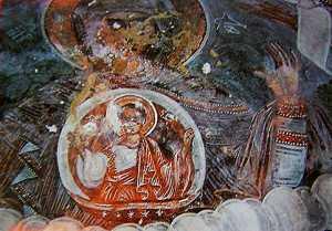 Η Πλατυτέρα στη κόγχη του ναού της Παναγίας Τρανοβάλτου, τέλη 18ου αιώνα.  Τις τοιχογραφίες της περιοχής επιμελούνταν Ηπειρώτες ή Βλάχοι, συνήθως, καλλιτέχνες, Δημόπουλος Ιωάννης, Τα παρά τον Αλιάκμονα εκκλησιαστικά, Θεσσαλονίκη 1994, σ. 876