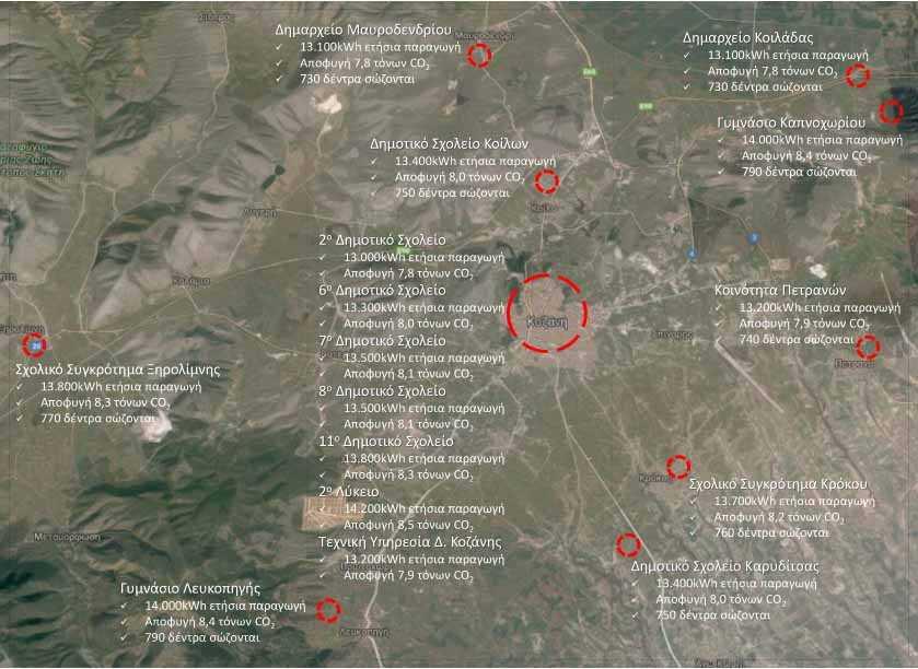 Εγκατάσταση και λειτουργία 16 Φωτοβολταϊκών Συστημάτων σε στέγες κτιρίων του Δήμου Κοζάνης