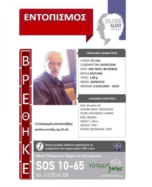 Βρέθηκε ο 54χρονος Δημήτρης Γκερσάνης από τη Φλώρινα που αγνοείτο από τις 30/4