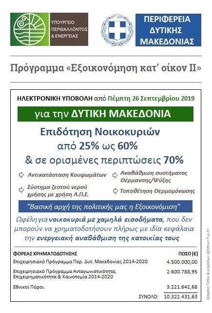 «Εξοικονόμηση κατ' οίκον ΙΙ»  Ανοίγει την Πέμπτη 26 Σεπτεμβρίου η πλατφόρμα για την ηλεκτρονική υποβολή  αιτήσεων για τη Δυτική Μακεδονία. Από 25 έως 70 η επιδότηση νοικοκυριών