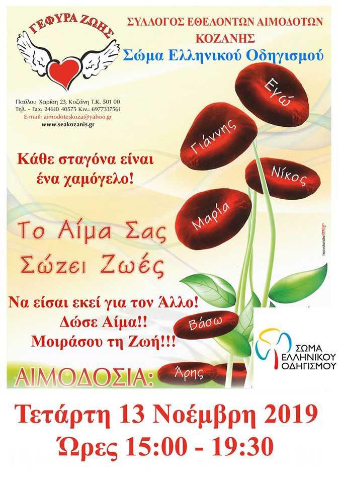 Το σώμα Ελληνικού Οδηγισμού Κοζάνης συμμετέχει στην 35η Αιμοδοσία της ¨Γέφυρας Ζωής¨ στα γραφεία του Συλλόγου
