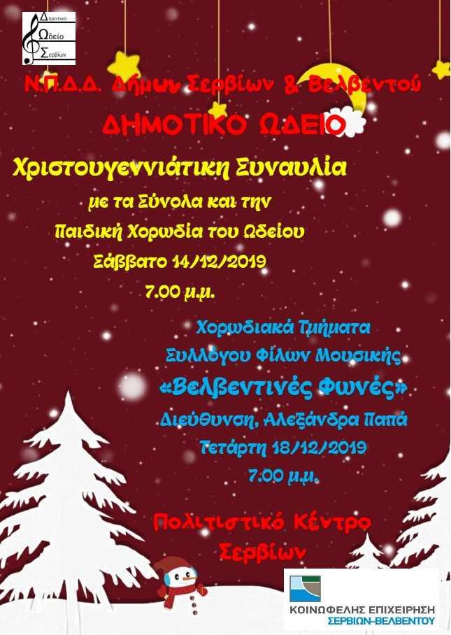 Χριστουγεννιάτικες εκδηλώσεις του δημοτικού ωδείου Σερβίων