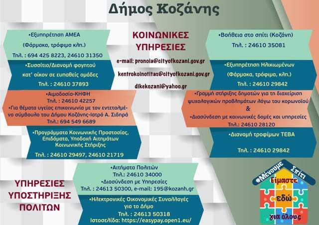Υπηρεσίες υποστήριξης πολιτών του δήμου Κοζάνης και τα τηλέφωνά τους