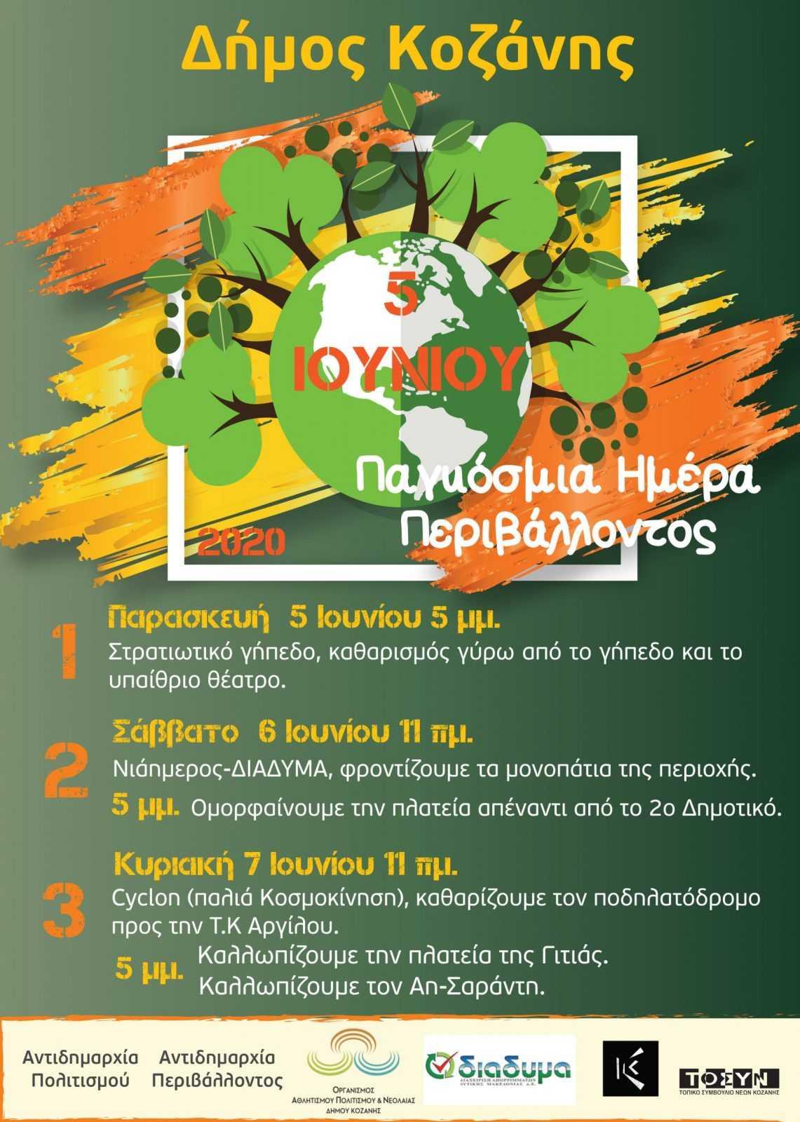 Παγκόσμια ημέρα Περιβάλλοντος. 3ήμερες δράσεις «Καθαρίζω και ομορφαίνω την πόλη μου».