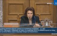 Η Παρασκευή Βρυζίδου, Πρόεδρος μέρους των εργασιών της Διαρκούς Επιτροπής Εθνικής Άμυνας και Εξωτερικών Υποθέσεων για την επεξεργασία και εξέταση του σχεδίου νόμου του Υπουργείου Εξωτερικών: «Καθορισμός του εύρους της αιγιαλίτιδας ζώνης στη θαλάσσια περιοχή του Ιονίου και των Ιονίων Νήσων μέχρι το Ακρωτήριο Ταίναρο της Πελοποννήσου».
